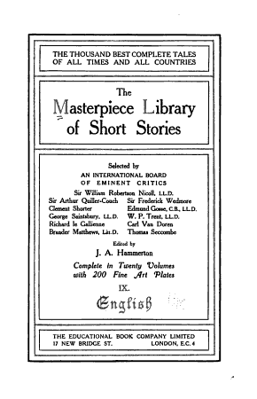 The Masterpiece Library of Short Stories  English PDF