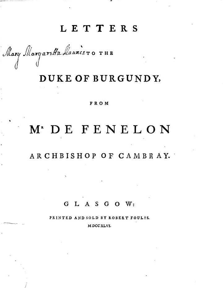 Letters to the Duke of Burgundy