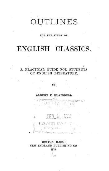 Outlines for the Study of English Classics PDF