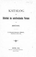 Katalog der Bibliothek des naturforschenden Vereines in Br  nn PDF