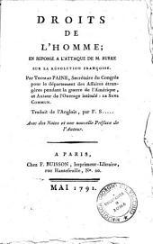 Droits de l'Homme; en réponse à l'attaque de M. Burke sur la Révolution Françoise ... Traduit de l'Anglois par F. S. ... [Soulès], avec des notes et une nouvelle préface de l'auteur: Partie1