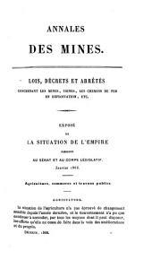 Annales des mines, partie administrative, ou Recueil de lois, décrets, arrètés et autres actes concernant les mines et usines