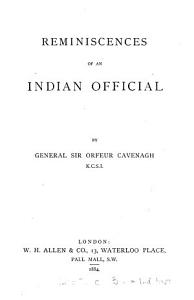 Reminiscences of an Indian Official PDF