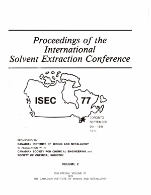 Proceedings of the International Solvent Extraction Conference ISEC 77  Toronto  9 6th September 1977