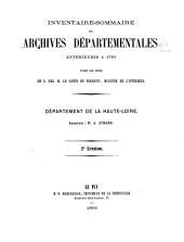 Inventaire-sommaire des Archives départementales antérieures à 1790: Département de la Haute-Loire. série B