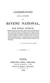 Considérations sur la nature du revenu national