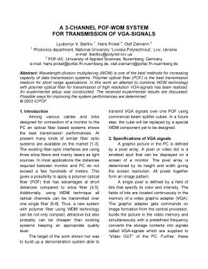A 3 Channel POF WDM System for Transmission of Vga Signals PDF