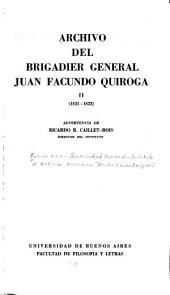 Archivo del brigadier general Juan Facundo Quiroga: 1821-1822