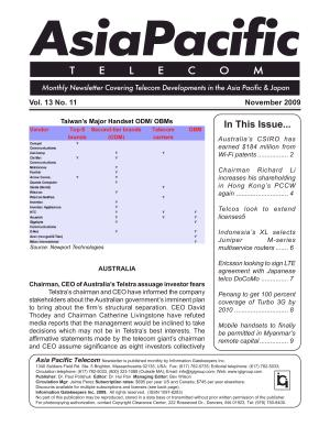 Asia Pacific Telecom Monthly Newsletter November 2009 PDF