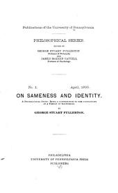 On Sameness and Identity: A Psychological Study: Being a Contribution to the Foundations of a Theory of Knowledge, Issues 1-4