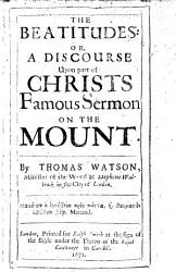 The Beatitudes Or A Discourse Upon Part Of Christs Famous Sermon On The Mount  Book PDF