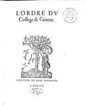 L'Ordre du College de Geneve: Leges Academiae Genevensis