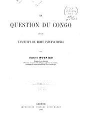 La question du Congo devant l'Institut de droit international