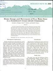 Home range and movement of five mule deer in a semidesert grass-shrub community