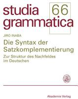 Die Syntax der Satzkomplementierung PDF