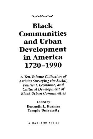 Black Communities and Urban Development in America  1720 1990  Antebellum America PDF