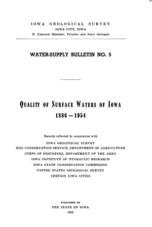 Quality of Surface Waters of Iowa  1886 1954 PDF