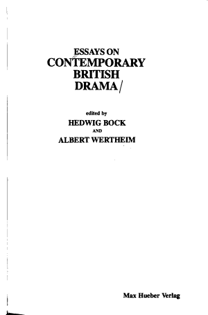Essays on Contemporary British Drama PDF