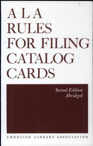 ALA Rules for Filing Catalog Cards Book