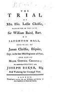 The Trial of Mrs  Eliz  Leslie Christie     for Committing Adultery with Joseph Baker  Etc PDF