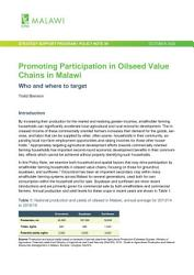 Promoting Participation In Oilseed Value Chains In Malawi Who And Where To Target Book PDF