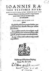 Ioannis Ravisii Textoris Nivernensis officina
