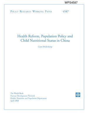 Health Reform  Population Policy and Child Nutritional Status in China PDF