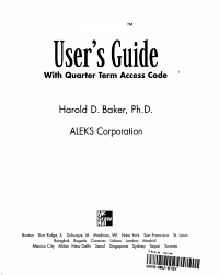 ALEKS User s Guide