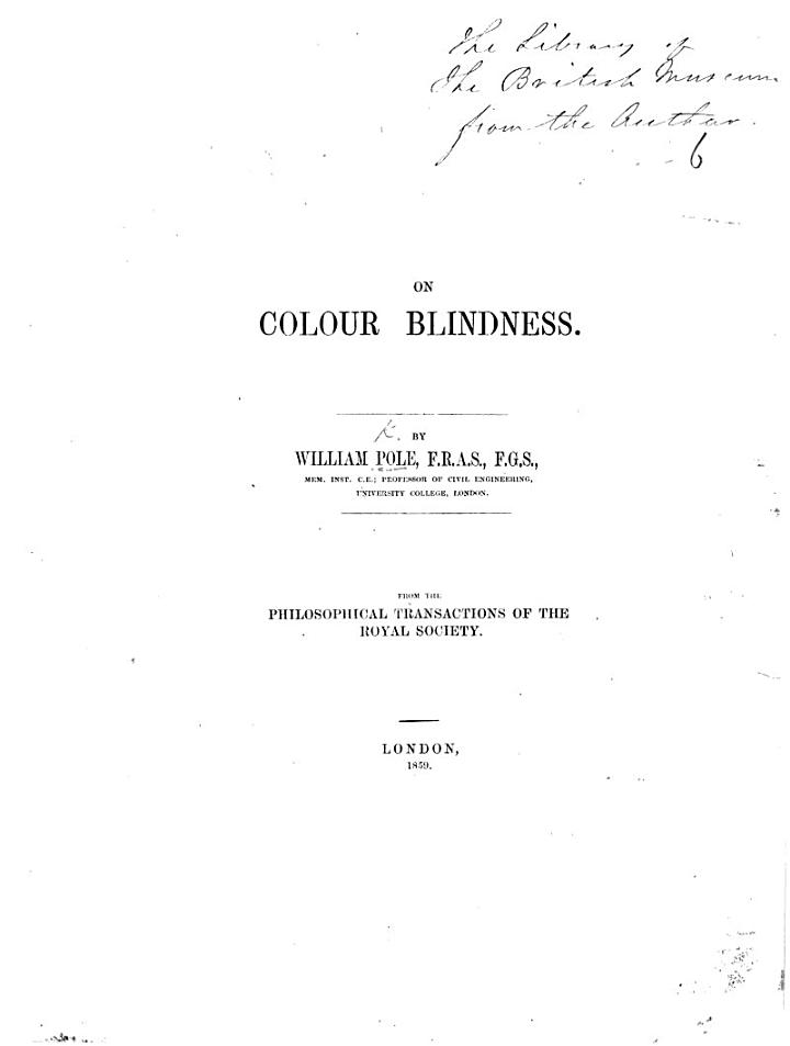 On Colour Blindness. ... From the Philosophical Transactions of the Royal Society