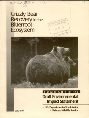 Grizzly Bear Recovery in the Bitterroot Ecosystem PDF