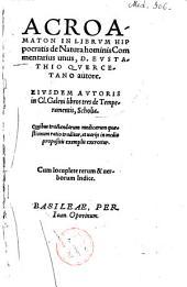 """Acroamaton in librum Hippocratis """"De natura hominis"""""""