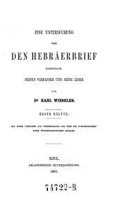 Eine Untersuchung Ueber den Hebraerbrief