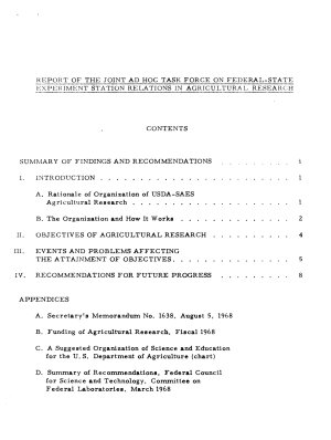 Federal state Experiment Station Relations in Agricultural Research