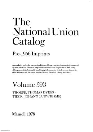 The National Union Catalog, Pre-1956 Imprints