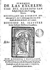 Svmmario de las excelencias del glorioso San Ioseph, esposo de la Virgen Maria