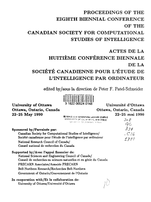 Proceedings of the Eighth Biennial Conference of the Canadian Society for Computational Studies of Intelligence, University of Ottawa, Ottawa, Ontario, Canada 22-25 May 1990