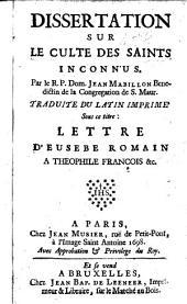 Dissertation sur le culte des saints inconnus