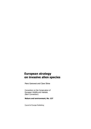 European Strategy on Invasive Alien Species PDF