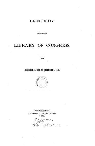 Download Catalogue of books added to the Library of Congress Book