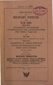 Hearings on Military Posture and H R  6495  H R  6974  Department of Defense Authorization for Appropriations for Fiscal Year 1981 Before the Committee on Armed Services  House of Representatives  Ninety sixth Congress  Second Session PDF