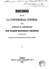 Discurso leído en la Universidad Central