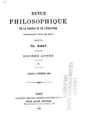 Revue philosophique de la France et de l'étranger: Volume20