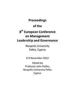 ECMLG2012 Proceedings of the 8th European Conference on Management  Leadership and Governance PDF