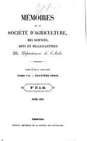 Mémoires de la Société académique d'agriculture, des sciences, arts et belles-lettres du département de l'Aube: Volume20;Volume22