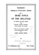 More Songs of the Hill folk PDF