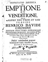 De emptione et venditione; praes. Henr. David Chuno