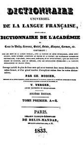 Dictionnaire universel de la langue française: Volume1