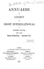 Annuaire de l'Institut de droit international: Volume11