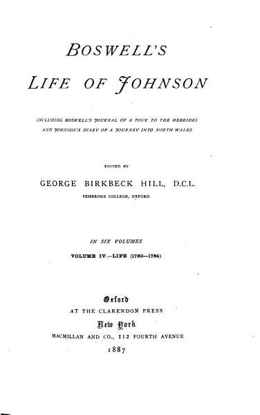 Download Boswell s Life of Johnson  Life  v l  1709 1765  v 2 1765 1776  v 3  1776 1780  v 4  1780 1784  Book
