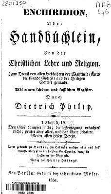 Enchiridion  oder Handb  chlein  von der christlichen Lehre und Religion     PDF